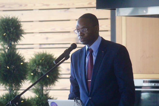 Michigan Lt. Gov. Garlin Gilchrist speaks during a small business summit on Monday, July 19, 2021, at the Downtown Market in Grand Rapids, Mich. The summit was the first in a series launched by Gov. Gretchen Whitmer's office as state officials continue to try to strengthen Michigan's economy in the wake of the coronavirus pandemic.
