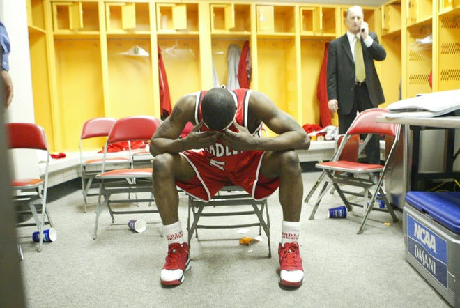 Bradley guard Tony Bennett overcome with emotion after the Braves beat Pittsburgh in the second round of the NCAA Tournament in Detroit in 2006.