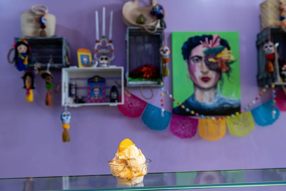 Two scoops of peach ice cream sits on the counter at Palarte Mexican Ice Cream in Peoria on Monday, July 19, 2021.