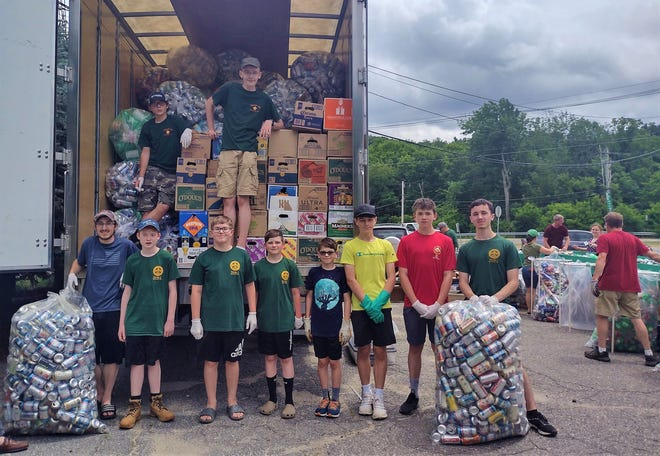 STERLING - Members of Sterling Boy Scouts troops 1 and 189 collected a record number of recyclable and redeemable cans and bottles on June 26 in the parking lot of the Sterling Municipal Light Department. The Scouts do the collection biannually, with proceeds helping to defray troop costs and support programs and events.