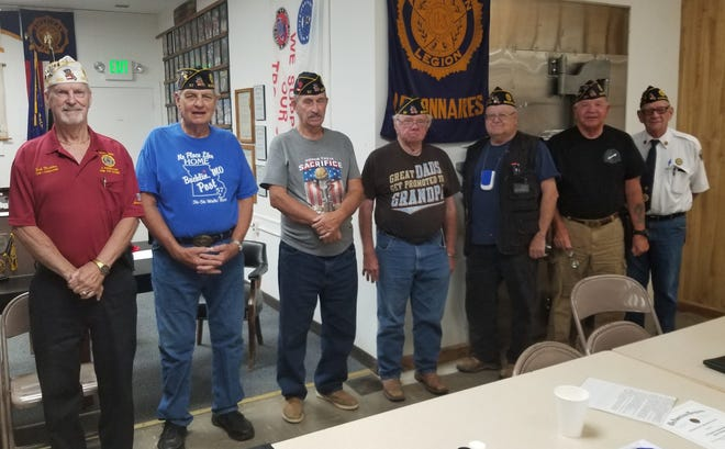 The Bucklin American Legion Green Hills Post 57 installed its new post officers on July 18, at the Post 57 legion hall. Robert Maddox-Zone One Vice Commander is pictured installing official, Wayne Kitchen-Commander, Robert Jobson Vice Commander and Service Officer, Jerry Cordray-Adjutant, Johnny Herndon-Finance Officer, Ralph Thomas-Historian, and Mike Haley-Chaplain.