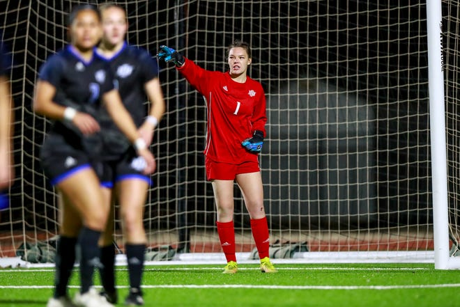 Lubbock Christian University goalkeeper Hannah Wise directs traffic during a match. The senior Midlothian High alum is preparing for her final college season.