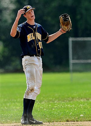 Former Hopkinton High baseball and football player Mark Sanborn shown on Aug. 9, 2008, in a Milford Legion baseball game. Sanborn was recently named the new Hopkinton High head football coach.