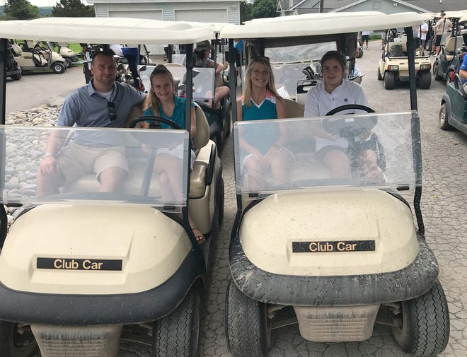 The Jadwick family of, from left, Chris, Christianna, Crystal and Amanie head out to the links July 16 at the shutgun start of the annual Great Cassety Hollow Classic golf tournment. A fundraiser for the Oriskany Falls Rotary, the tourney was held at the Barker Brook Golf Club in Oriskany Falls.