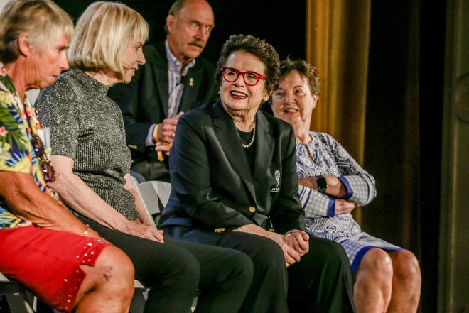 """Before the Hall of Fame induction ceremony, Billie Jean King, center, is joined by fellow members of the """"Original 9,""""  who led the push for equal prize money in women's tennis in the 1970s."""