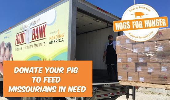 Through Hogs for Hunger, Missouri pig farmers and 4-H and FFA swine exhibitors have an opportunity to change the lives of neighbors, friends and classmates who don't have enough to eat.