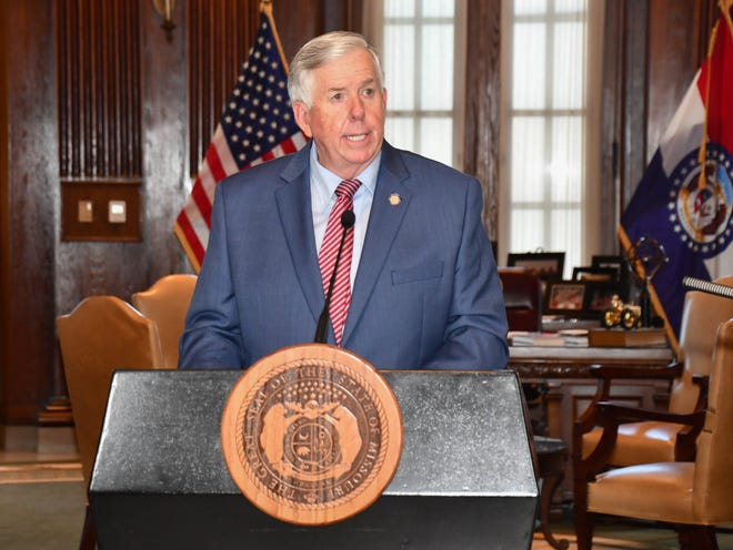 Gov. Mike Parson speaks to the media outside of his Missouri Capitol office. Photo courtesy of the Missouri Governor's Office