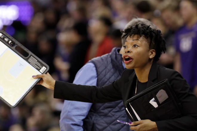 Maine men's assistant coach Edniesha Curry, a former Oregon Ducks women's player, has been hired to be an assistant with the NBA's Portland Trail Blazers. (AP Photo/Elaine Thompson)