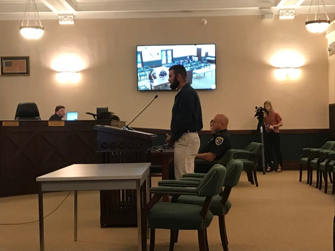 Nathan Lanzen speaks during a Monday hearing in front of the Elkhart Police Merit Commission.