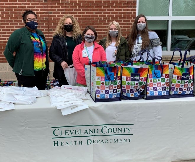 Cleveland County Health Department staff is pictured here participating in a drive-thru diaper event in March.