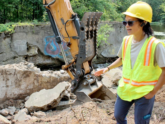 Kesiree Thiamkeelakul, resource analyst for the fisheries division at Michigan Department of Natural Resources, was present to oversee demolition of Parkville Dam. The project began July 19 and will continue into August, Thiamkeelakul said.