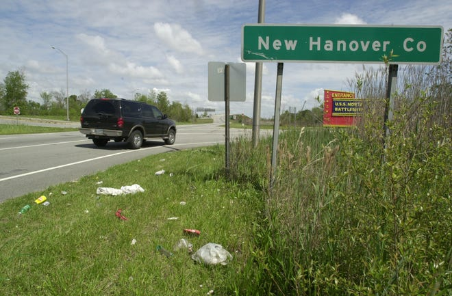Debris covers the media along US 421 at the New Hanover County line.