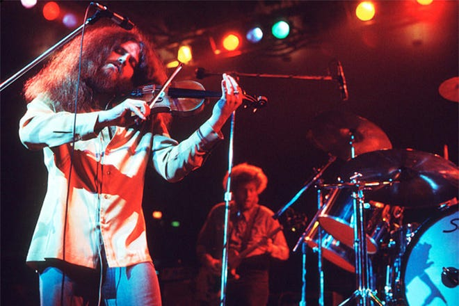 Robby Steinhardt, who died Saturday, is shown performing with the rock band Kansas, in which he was the longtime violinist and co-lead singer, in this photo from the band's Facebook page.