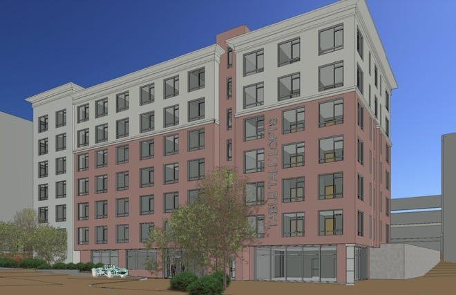 Architectural rendering of the proposed Table Talk Lofts apartment building at Kelley Square.