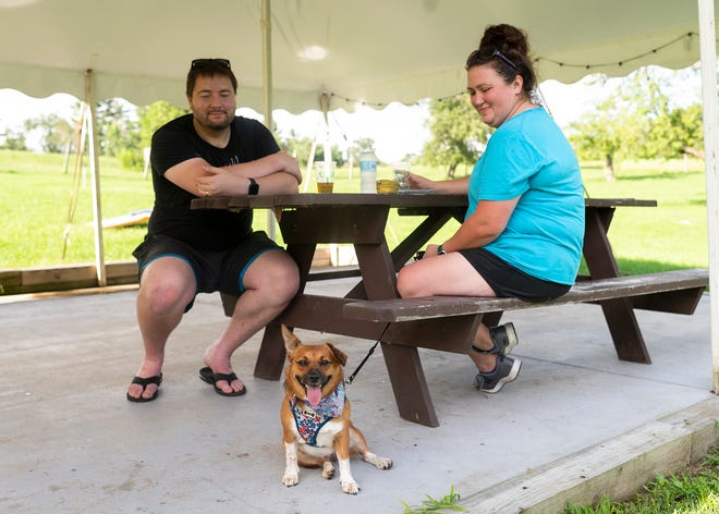 """Josh and Kristie Bell of Quincy, with their dog Whitney, enjoy a cold beer on a hot day during the """"Hyland Hump Day"""" event hosted by Greater Good Brewing Co. at Hyland Orchard  July 14."""