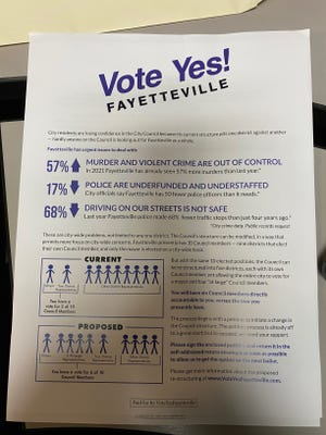 Vote Yes Fayetteville's mailers include statistics on the area's public safety as impetuses to change the City Council's structure.