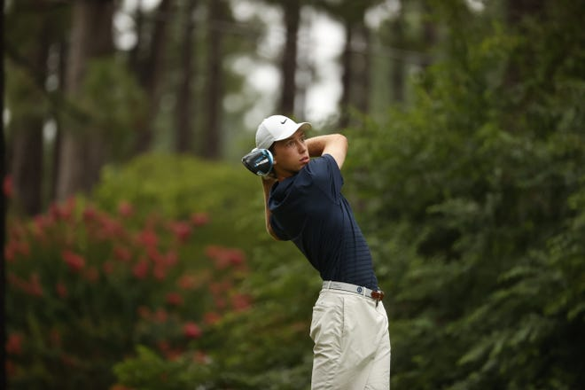 Jackson Van Paris hits his drive on the second hole during the first round of stroke play at the 2021 U.S. Junior at The Country Club of North in Village of Pinehurst, N.C. on Monday.