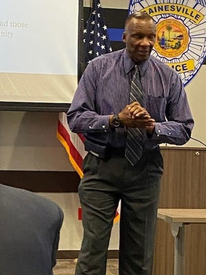 GPD Chief Tony Jones speaks during the July monthly meeting of the Black on Black Crime Task Force held last Wednesday to discuss the uptick locally in gun violence, especially among young people.