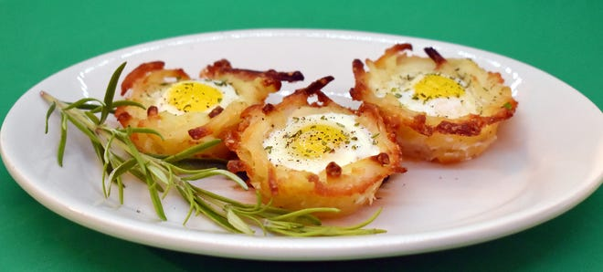 Hash Brown Baskets with Baked Quail Eggs