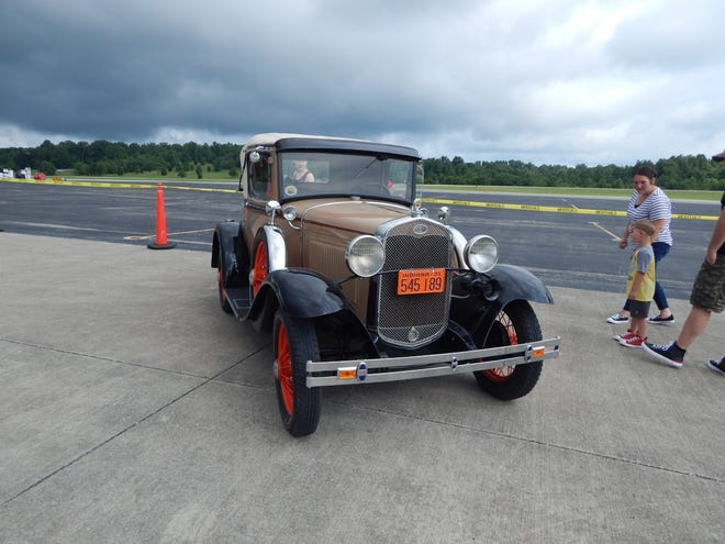 Rex Hinkle brought his Model A antique car to the July 17 Aviation Day at French Lick Municipal Airport.