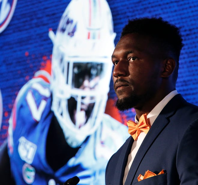 Florida defensive lineman Zach Carter answers questions during SEC Media Days at the Hyatt Regency in Hoover, Ala., Monday, July 19, 2021. [Staff Photo/Gary Cosby Jr.]