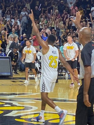 Tyrus McGee celebrating after wild finish in TBT game against the Omaha Blue Crew