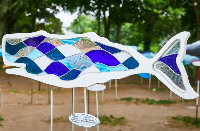 It's Art in the Park season at Chatham's Kate Gould Park, where 60 pieces of whale art are on display. This one was created by Dorothy Bassett and Hannah Camp York. Check it out through Aug. 20.