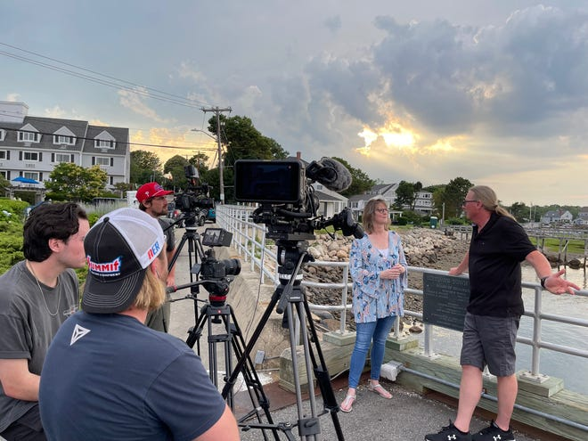 """Nick Kessler of """"Road Trip Masters"""" interviews Lynda Ferguson, manager of  The Inn at Scituate Harbor during his recent visit to  Scituate."""