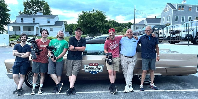 """Nick Kessler with the """"Road Trip Masters"""" crew, along with legendary mossers Jerry Pallotta and Hawk Hickman hang out in Scituate."""
