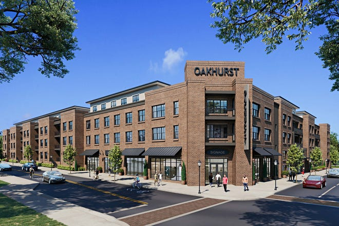 Updated renderings submitted to July 19 show new plans for the Oakhurst development, proposed for Charlotte Street at the former Fuddruckers restaurant site.