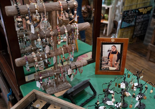 A Detroit based business Leaf and Blossom sells artwork and crafts created by 22 Detroiters and features jewelry made by Kristal Brasseur and are in store Wednesday, May 5, 2021. The store opened in December 2020 in response to art shows shutting down due to the pandemic. The store is co owned by Lillian Li, 62, of Grosse Pointe, Maggie Mazzara, 72, of Grosse Pointe Woods and Victoria Li, 26, of Detroit.
