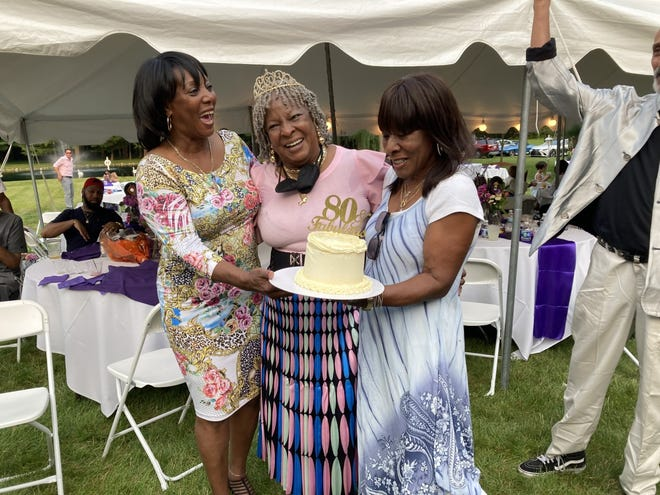 Martha Reeves, center, celebrates her 80th birthday on July 18, 2021, with her sisters Jesse, left, and Lois in Armada, Mich.