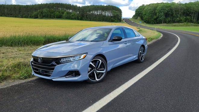 The 2021 Honda Accord shows off its good looks and sharp handling through M-32's twisty bits.