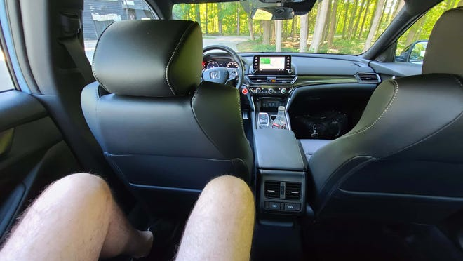 """Detroit News auto critic Henry Payne could easily sit behind himself in the 2021 Honda Accord - his 6'5"""" frame had knee room to spare."""