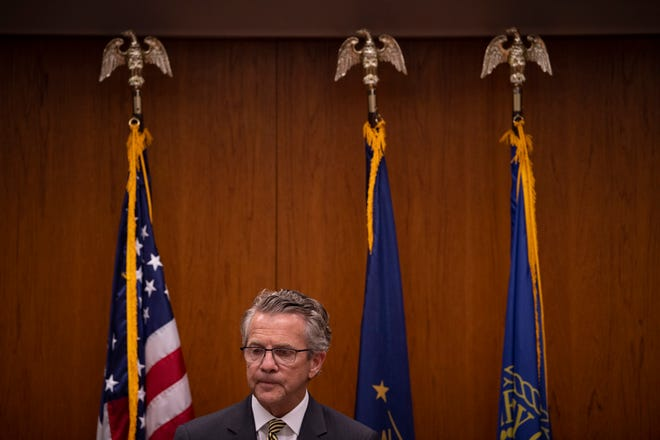 Evansville Mayor Lloyd Winnecke announces irregularities at the Evansville Parks and Recreation Department lead to to him accepting the resignation of Brian Holtz, director of the department, at the Civic Center Monday afternoon, July 19, 2021.