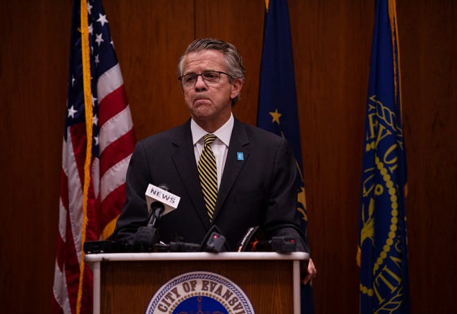 Evansville Mayor Lloyd Winnecke announces irregularities at the Evansville Parks and Recreation Department lead to him accepting the resignation of Brian Holtz, director of the department, at the Civic Center Monday afternoon, July 19, 2021.