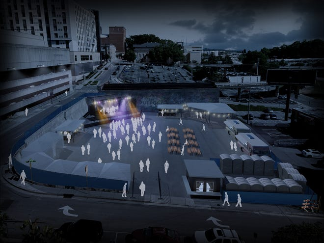 A rendering shows what The Outpost Outdoors Concert Series could look like when performers take the stage on Fridays starting Sept. 10 through Oct. 22. Food trucks and vendors will be on hand for the concerts, which start at $15 per ticket.