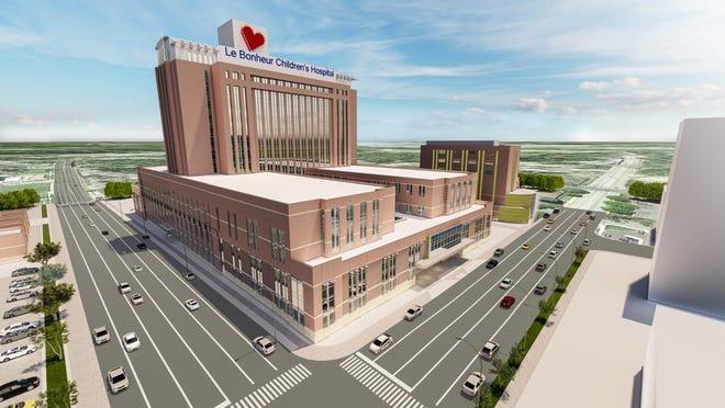 Renderings show a planned expansion of Le Bonheur Children's Hospital.