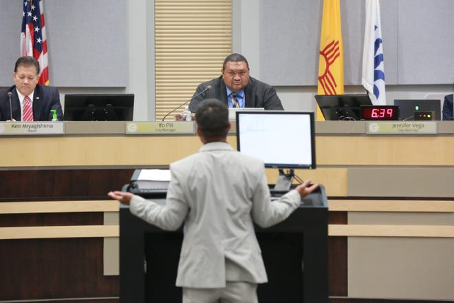 A man speaks during public comment at the July 19, 2021 Las Cruces City Council meeting.
