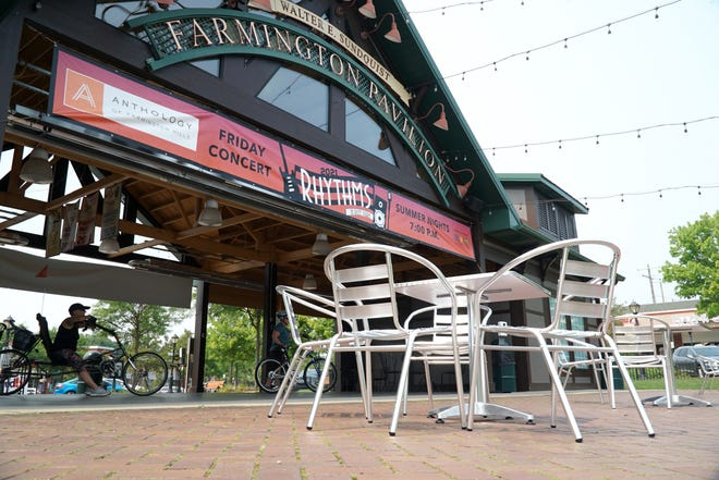 Downtown Farmington's Sunquist Pavilion has tables and seats for diners enjoying their meals outside during the summer months.
