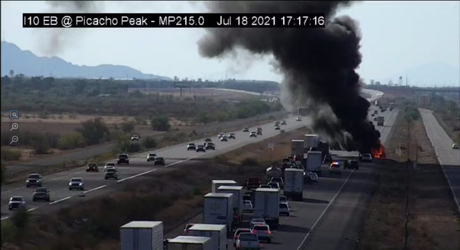 An RV fire delayed traffic for approximately two hours on eastbound Interstate 10 on July 18, 2021.