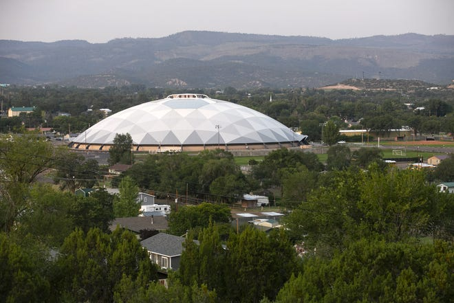 The Round Valley Ensphere, also known as the  Round Valley Dome is a high school football stadium in Eagar as seen on August 20, 2020.