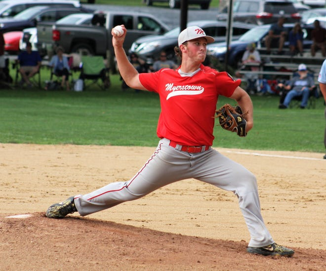 Myerstown's Luke Hostetter fired a complete game in a 7-1 win over Upper Dauphin at the Region 4 Legion Baseball Tournament on Sunday.