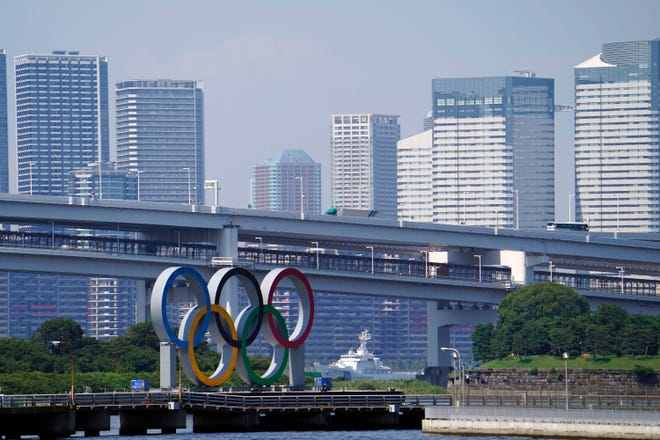 The Olympic Rings and Olympic Village, as seen from Odaiba in Tokyo Bay, mark the epicenter of the Summer Games.