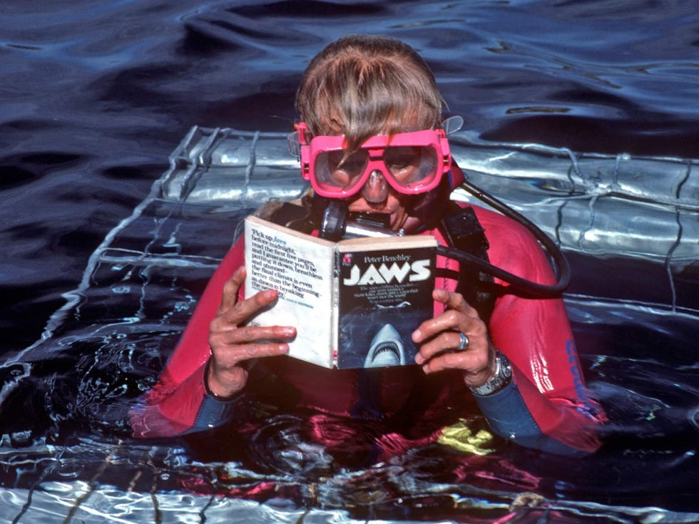 "Valerie Taylor reading ""Jaws"" novel"