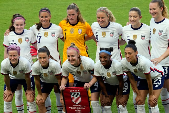 The U.S. women's national soccer team before a match in Houston on June 10, 2021.
