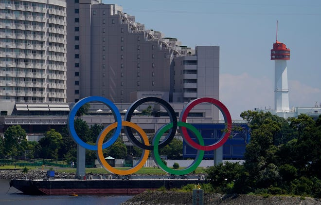 A general view of the Olympic rings in Odaiba before the Tokyo Olympic Games, which begin July 23.