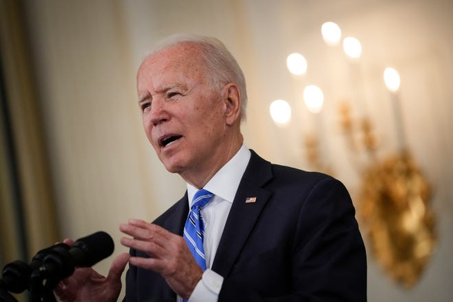 President Joe Biden speaks about the nation's economic recovery amid the COVID-19 pandemic in the State Dining Room of the White House on July 19, 2021, in Washington, D.C.