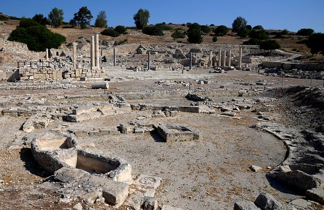 Ruins of the ancient city of Amathus are still visible near Limassol Cyprus.
