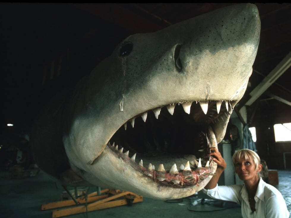 """Valerie Taylor on set of """"Jaws"""" (1975) by Steven Spielberg with shark animatronic named """"Bruce"""""""